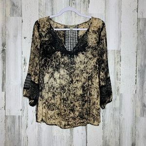 One World Black and Cream Top